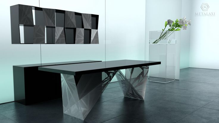 METAL OFFICE DESK - ΜΕΤΑΛΛΙΚΟ ΓΡΑΦΕΙΟ Metal office desk made of perforated aluminium with a unique pattern. Life is in the details. Metalaxi Innovative Architectural Products. www.metalaxi.com