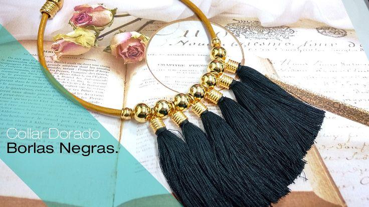 Aprende Cómo hacer un Collar Dorado y Borlas negras Variedades y Fantasí...