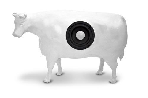 This white cow speaker makes a feature of your shelves, replacing the