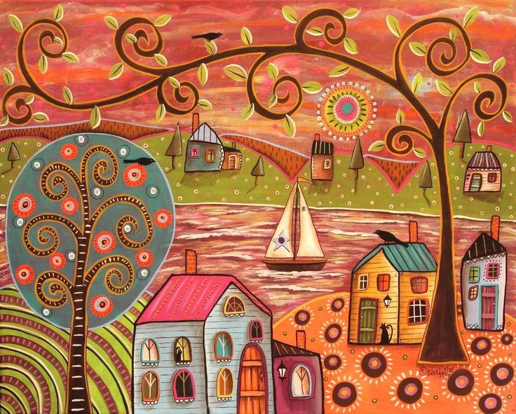 Pleasant Day 16x20 ORIGINAL CANVAS PAINTING LANDSCAPE FOLK ART Karla Gerard #FolkArtAbstractPrimitive