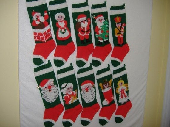 Hand Knit Christmas Stocking by jpyle on Etsy