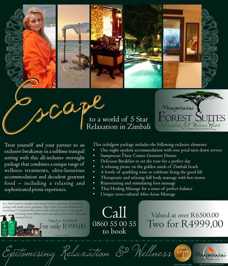 Mangwanani African Day Spa Promo: Escape to a World of 5 Star Relaxation – Forest Suites, Zimbali#wordtiffie Need similar (or other copywriting/web content) work done? Contact me - darrell@wordtiffie.co.za