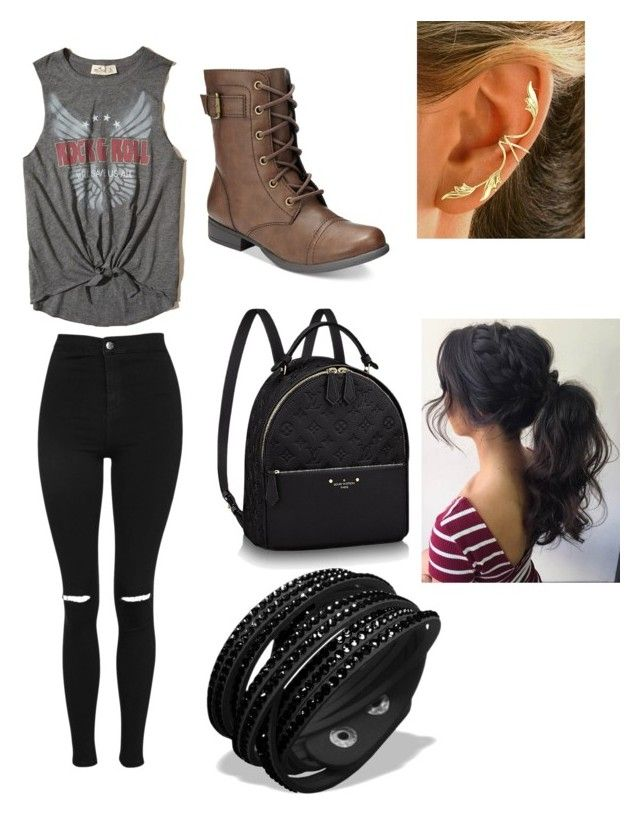 """""""Rebel"""" by leahmalbright ❤ liked on Polyvore featuring Hollister Co., Topshop and American Rag Cie"""