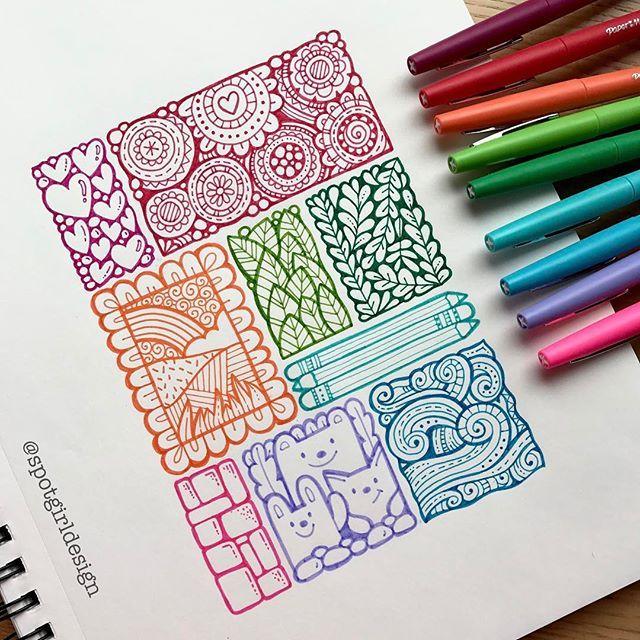 New pens! #zendoodle #zentangle #zentangleart #papermateflair #rainbowart #rainbowcolors