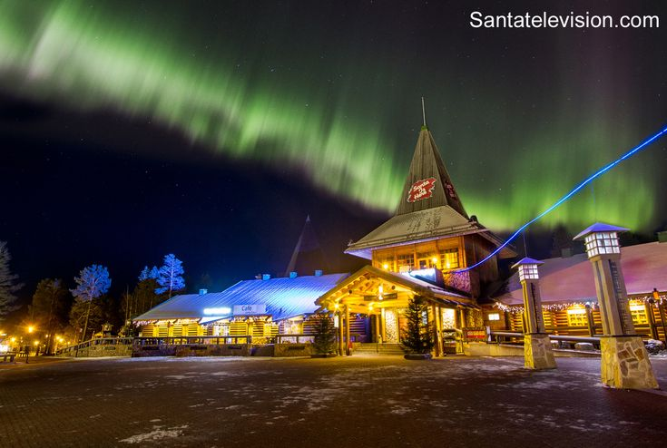 Santa Claus Village in Rovaniemi in Lapland in October under Northern lights