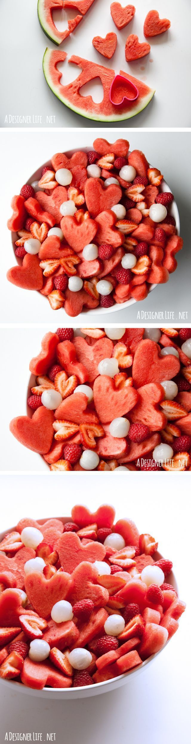Watermelon heart fruit salad. Using a heart cookie cutter, this would be adorable for an engagement party, shower, or anniversary party. (valentine deserts recipes)