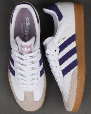 Adidas Samba Og Trainers White/Purple   Adidas samba, Adidas ...