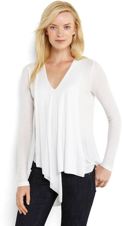 PHILOSOPHY V-Neck Asymmetrical Top on shopstyle.com