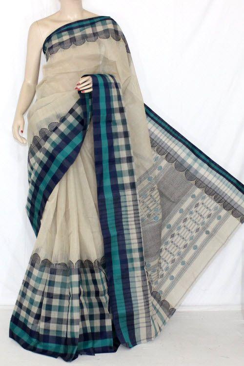 Beige Green Blue Designer Handwoven Bengali Tant Fine Cotton Saree (Without Blouse) 13859