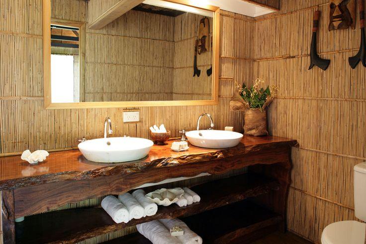 Matangi Private Island Resort Matangi Island, Fiji bathroom property sink house home cottage countertop Kitchen farmhouse cabinetry Suite log cabin swimming pool Bath tub