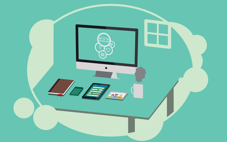 Isometric flat desktop concept.