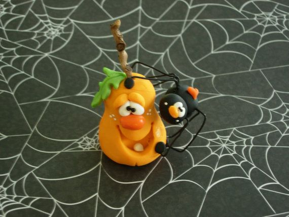 Polymer Clay Spider on Jack o'Lantern  Figurine by ClayBabiesInc, $13.95