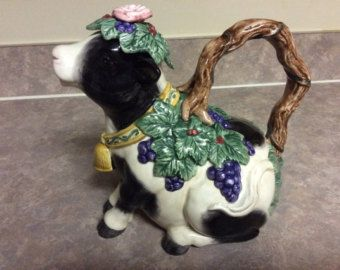 Cute! Fitz and Floyd Heidi Holstein/Cow Tea Pot.
