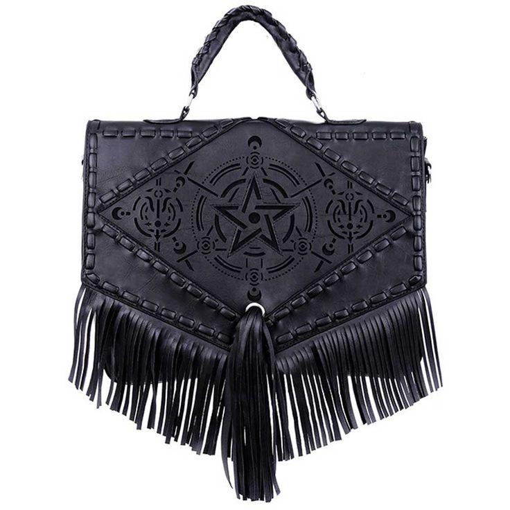 Restyle Boho Witch pentagram schouder tas met franjes zwart - Gothic f