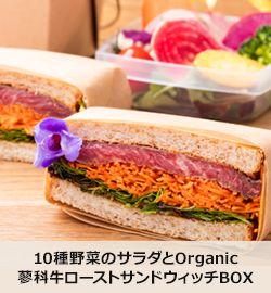 10種野菜のサラダとOrganic蓼科牛ローストサンドイッチBOX野菜がおいしいダイニング LONGING HOUSE 表参道 - 表参道