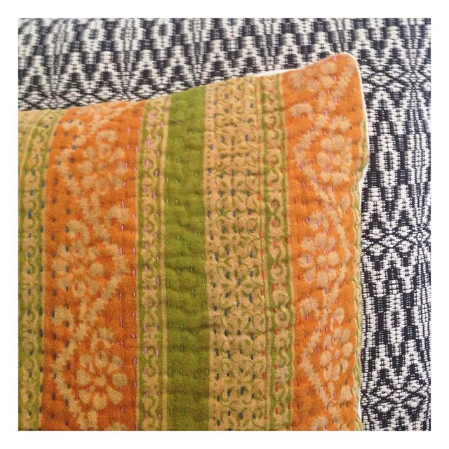 Our gorgeous hand woven Aztec cushion together with our chartreuse kantha cushion.  it's a perfect match. Scatter cushions are the easiest and most affordable way to freshen up your living space. You can never have too many. Remember every purchase makes a difference.  #globalliving #homewares #interiordecor #interiorinspo #cushions #kantha #scattercushions #chartreuse #blackandwhite #handwoven