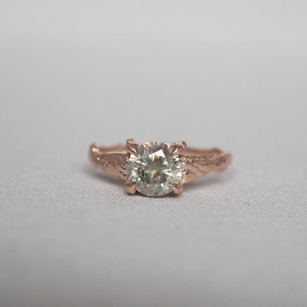 Solid Rose Gold Sparkle in the Wild One Carat Grey Diamond Ring