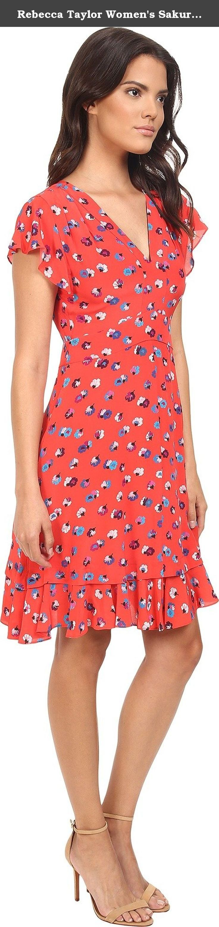 Rebecca Taylor Women's Sakura Floral Sleeveless V-Neck Dress Poppy Dress. Rebecca Taylor Size Chart Flared dress boasts fun summertime florals for effortlessly chic style. Luxe silk fabrication. V-neckline. Short flutter sleeve design. Concealed back zip closure. Banded waist creates a flattering empire silhouette. Straight hemline. Fully lined. 100% silk;Lining: 100% polyester. Dry clean only. Imported. Measurements: Length: 38 in Product measurements were taken using size 2. Please note...
