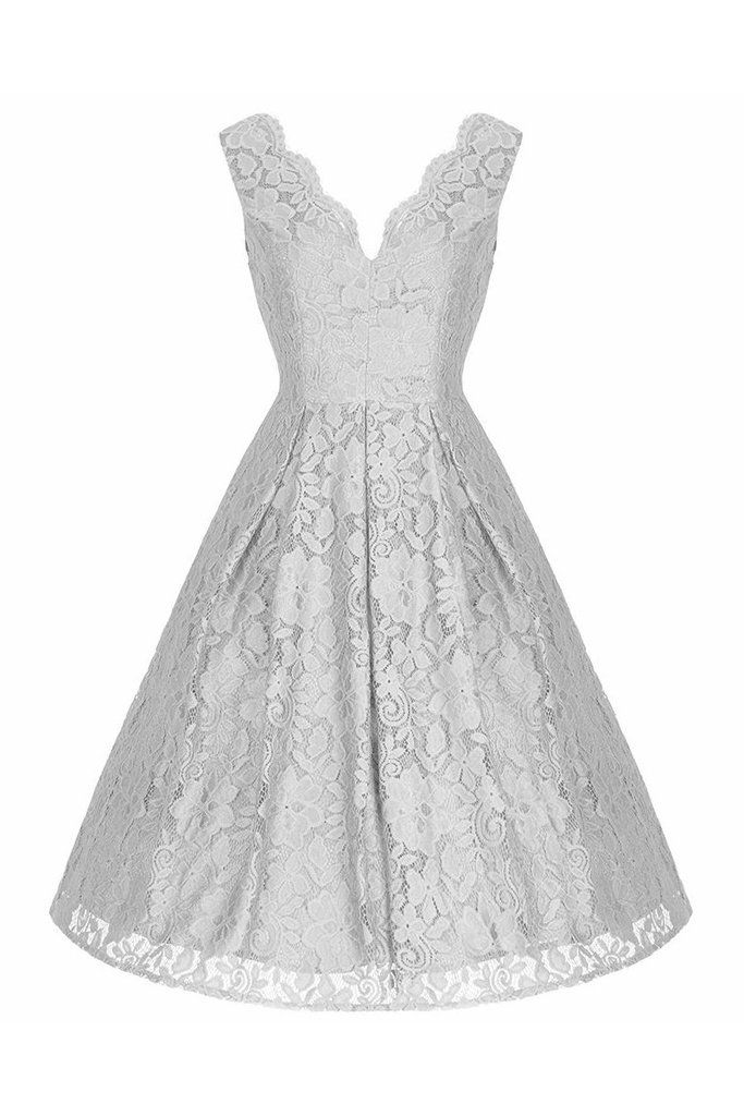 Silver Grey Embroidered Lace Sleeveless V Neck 50s Swing Dress