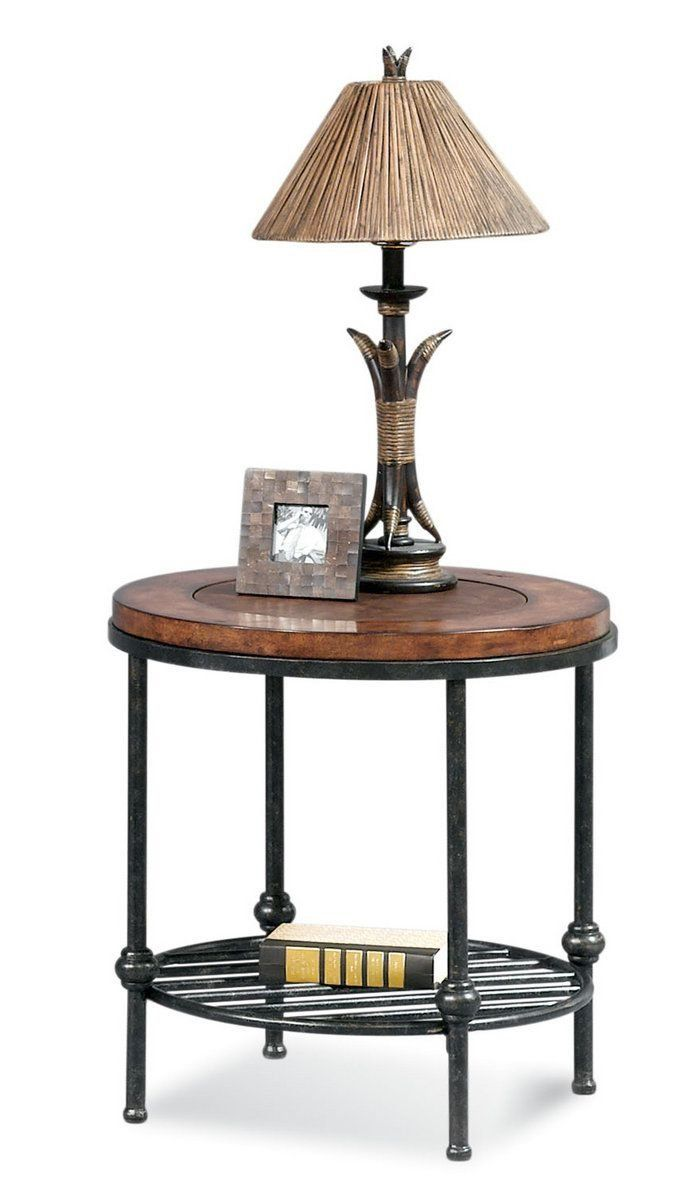 End Table With A Leather Inset Top And Slatted Metal Lower Shelf. Product:  End TableConstruction Material: Gunmetal, Veneers And LeatherColor: ...