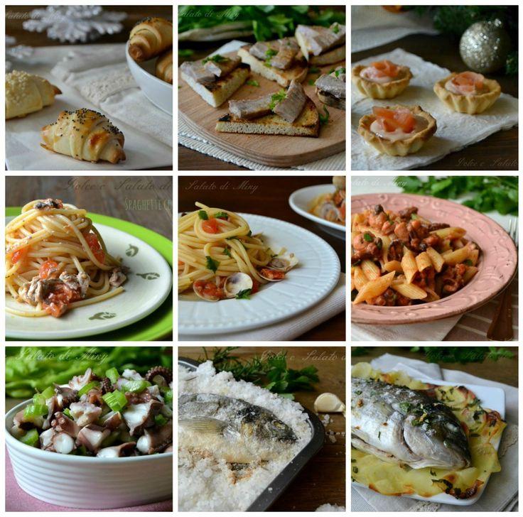 Menù a base di pesce, solo ricette a base di pesce di antipasti, primi e secondi piatti, ideali per le feste di Natale.