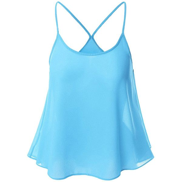 Womens Sexy Plain Spaghetti Straps Camisole Top Light Blue (1000 ALL) ❤ liked on Polyvore featuring tops, spaghetti strap camisole, light blue cami, blue cami top, light blue top and blue cami