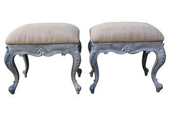 Southern Accent Painted Benches Vintage Decor Blue Paint
