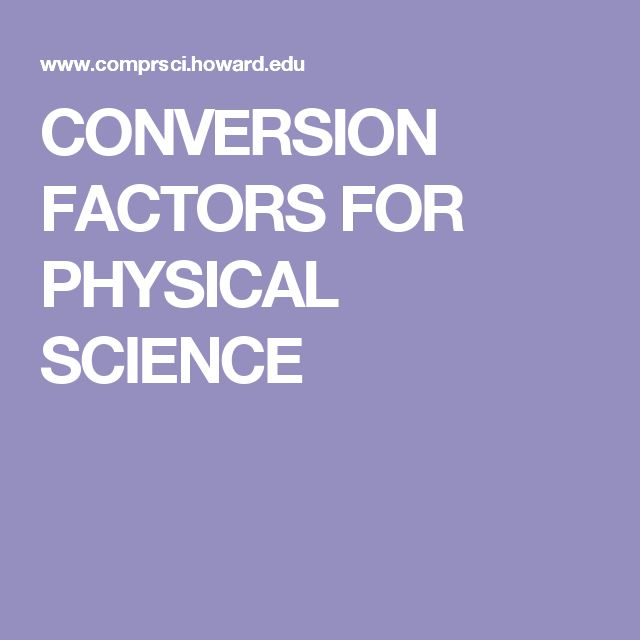 CONVERSION FACTORS FOR PHYSICAL SCIENCE