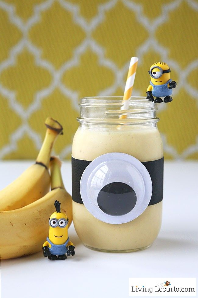 A Minions Banana Smoothie is a healthy treat for kids! Fun food snack recipe for a Minions themed birthday party, quick breakfast or after school snack.