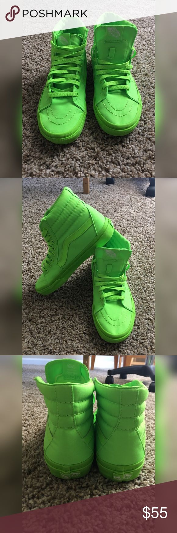 Lime green high top vans (Kids) Lime green boys size hightops worn Twice  Vans Shoes Sneakers