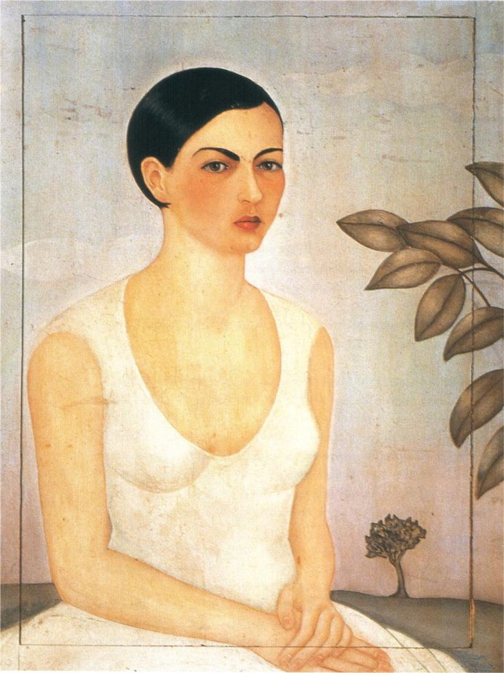 """Retrato de Cristina, Mi Hermana,"" (Portrait of Cristina, My Sister, 1928. Oil on wood. Naïve Art (Primitivism) Cristina Kahlo (1908 - 1964) In 1934, Frida discovered that Diego was having an affair with Cristina. The couple separated and Frida engaged in a number of extra marital affairs of varying duration and intensity perhaps in retaliation although Frida never abandoned her attachment to Diego. #fridakahlo"