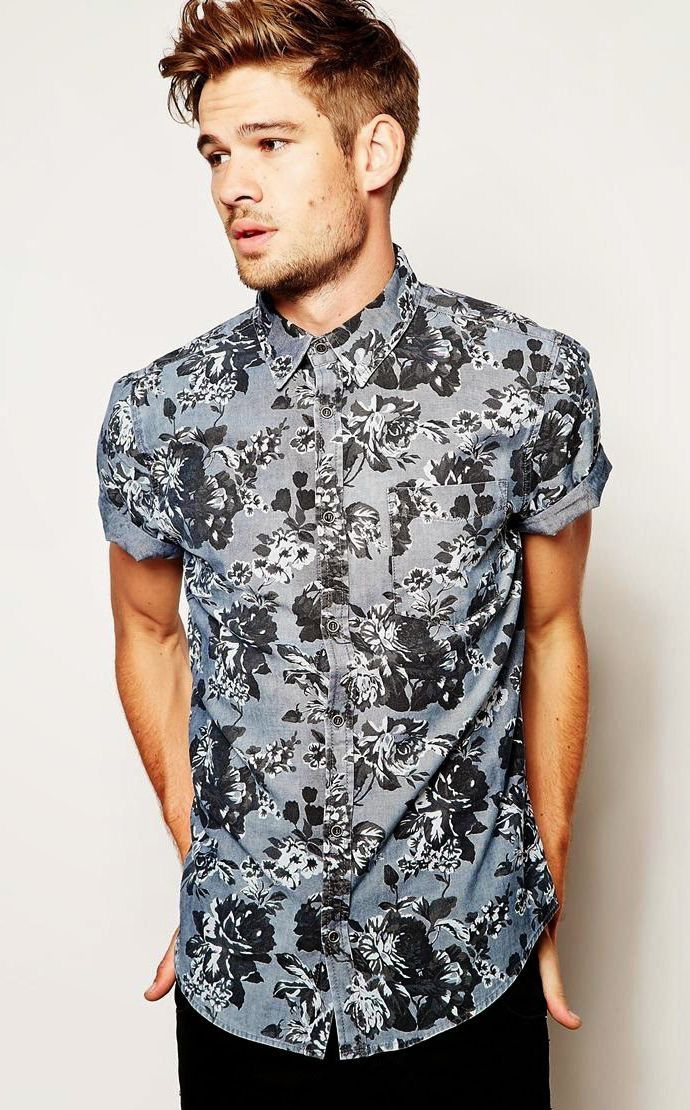 092bcb3fe13b Cool gray black floral short sleeve button up shirt with black denim  floral   floralshirt  summerfashion  summertoufits  menswear  mensfashion  menstyle  ...
