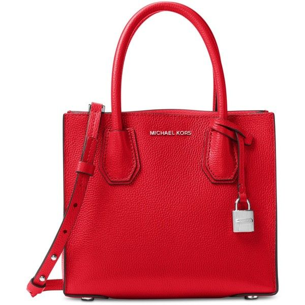 Michael Michael Kors Studio Mercer Medium Bonded-Leather Messenger ($228) ❤ liked on Polyvore featuring bags, messenger bags, cross body, crossbody messenger bag, michael kors bags and red bag