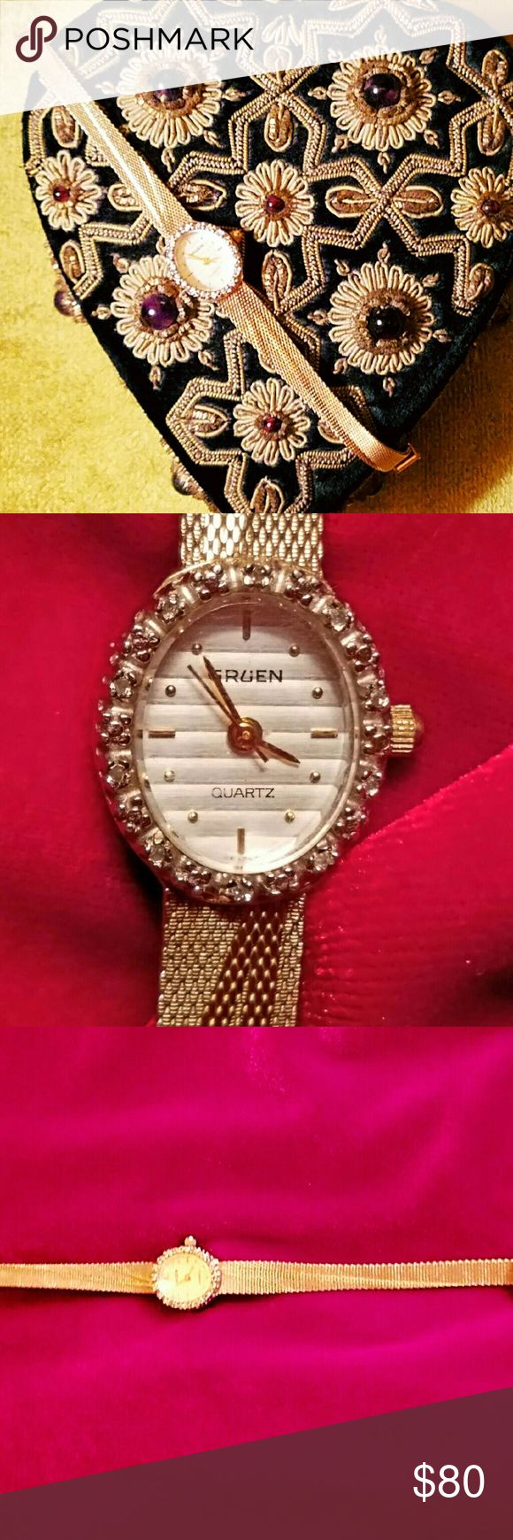 Gruen Watch very nice diamond bezel I believe it is gold filled does not tarnish, stamped JB USA, it will need a new battery. Adjustable band. Gently worn a couple of times. Gruen Accessories Watches