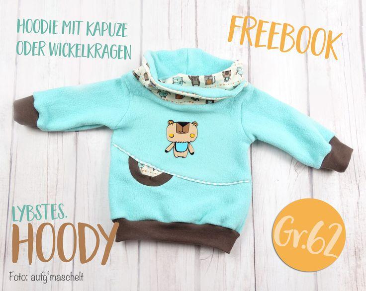 Lybstes Freebook: Baby-Kapuzenpullover, Hoodie mit Wickelkapuze, Schnittmuster, selber nähen