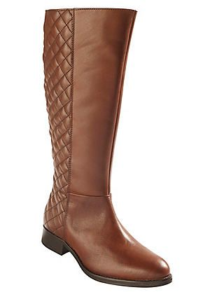 Quilted Back Long Leather Boots #Kaleidoscope #Shoes #Fashion #Boots #Style