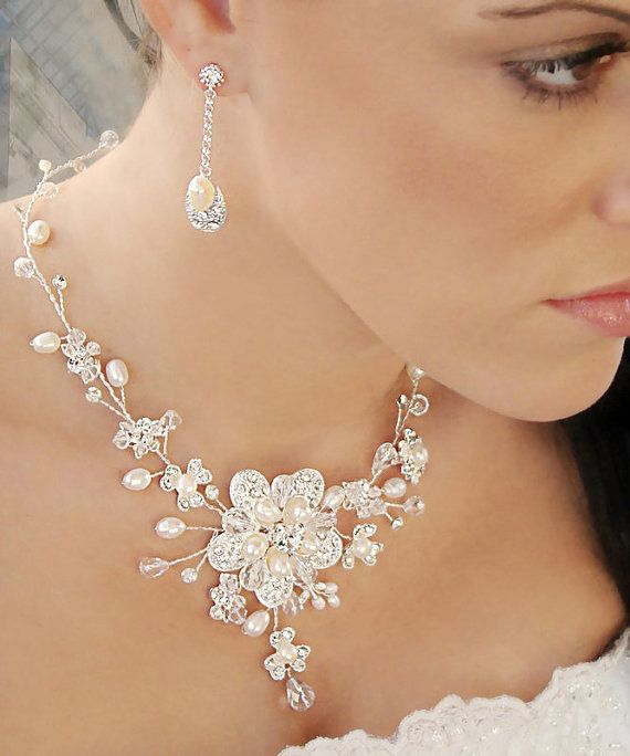 Bridal Necklace Set made with Freshwater by LucysBridalCloset, $79.98