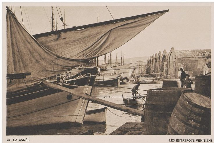 The Grand arsenal (Venetian shipyards) at Chania....1919 BAUD-BOVY/ BOISSONNAS Collection: Aikaterini Laskaridis Foundation