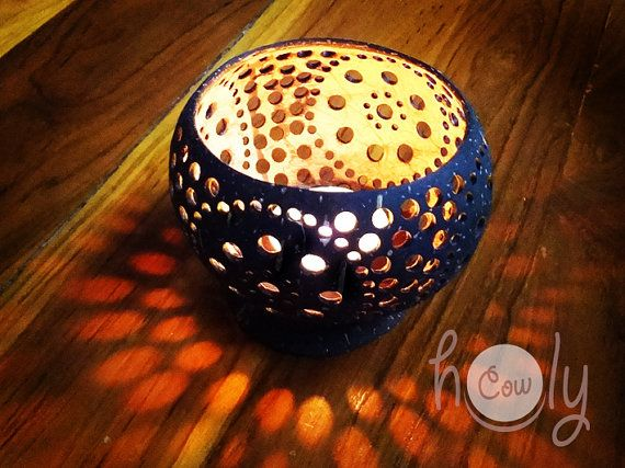 Beautiful Handmade Coconut Shell Candle Holders by HolyCowproducts, $27.00