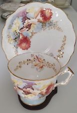 RARE TEAL BLUE FOOTED VINTAGE AYNSLEY HANDPAINTED ORCHID TEA CUP & SAUCER