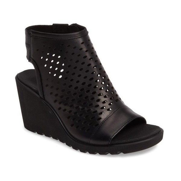 Women's Ecco Freja Wedge ($150) ❤ liked on Polyvore featuring shoes, sandals, black leather, leather footwear, black leather shoes, perforated shoes, wedge shoes and ecco footwear