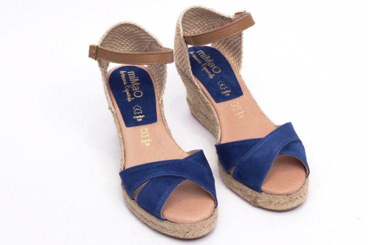 miMaO Esparto Azul royal - Sandalias mujer tacón cuña cómodo color azul  piel ante yute- Comfort women's sandals heel wedge espadrilles cobalt blue suede leather