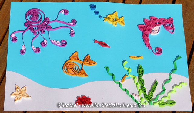 quilling sous-marin poisson pieuvre