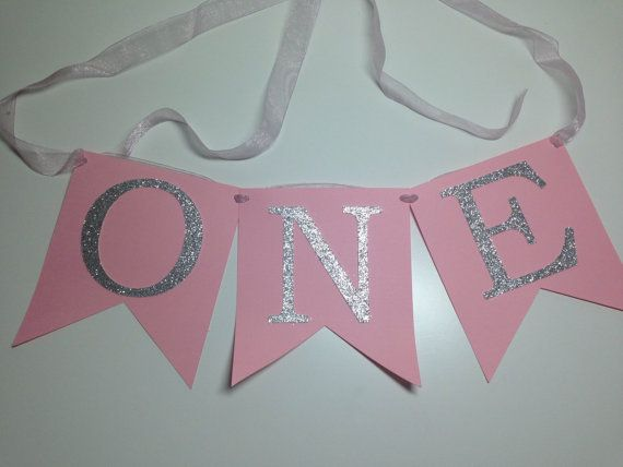 ONE Pink High Chair Banner Pink and Silver by TheLoveofPaper5