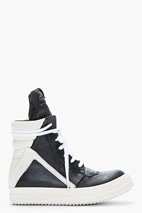 RICK OWENS Black & Ivory Leather High-Top Geobasket Sneakers