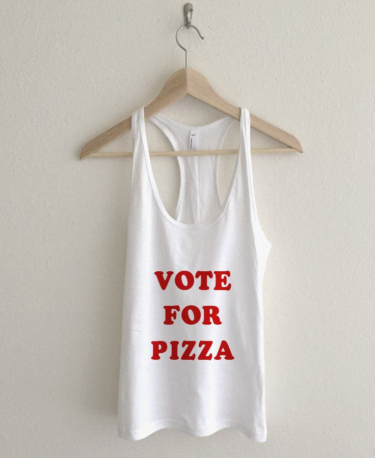 Vote For Pizza Pedro Typography Fine Jersey Athletic Racerback Tank Top