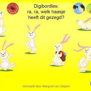 Digibordles-hazen Deze kritisch luisteren digibordles is gemaakt door Margriet van Diepen en is vooral geschikt bij het thema Pasen. Het vraagt de kinderen goed te luisteren naar de opdracht en te kijken naar de plaatjes om zo tot de juiste keuze te komen.