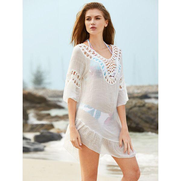 SheIn(sheinside) Crochet Insert Open Back Tassel Detail Cover Up (5.170 HUF) ❤ liked on Polyvore featuring swimwear, cover-ups, white swimwear, sexy cover up, sexy swim cover up, cover up beachwear and sexy cover ups