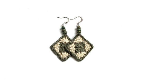 Sage green beige pendant crochet square earrings by zolayka