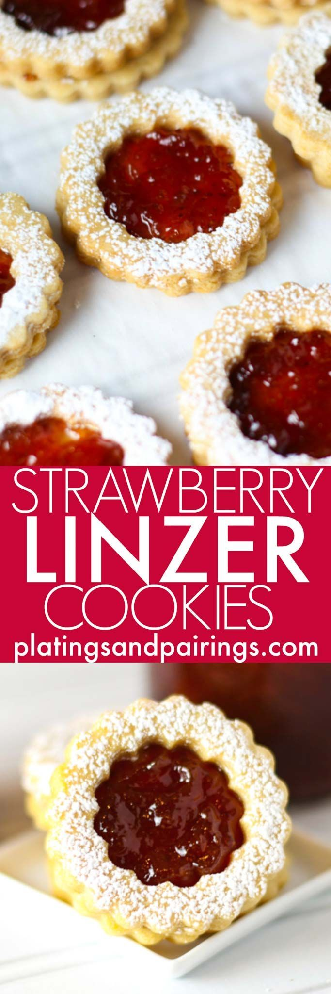 These Linzer Cookies with Strawberry Jam are a delightful, sweet treat that's perfect for holidays like Christmas and Valentine's Day!   platingsandpairings.com
